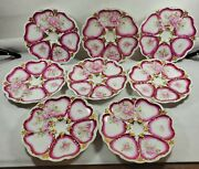 Antique 1900and039s Porcelain Oyster Plates Heart Shaped Wells Hand Painted Pink/gold