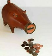 Rare Vintage Leather Milk Bottle Piggy Bank - Great Quality And Details