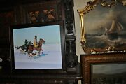 Large Quality Painting Riders On Horseback In Winter
