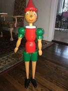 Super Rare Vintage Wooden Pinocchio Doll Made In Italy 31 Extra Tall