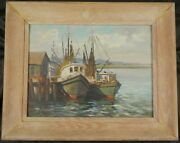 Original Oil Painting Of Fishing Boats By Cape Cod Artist Irene Stry Clair