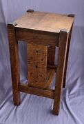 Antique Prarie Arts And Crafts Stickley Era Nightstand Side Table Quarter Sawn Oak