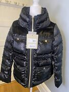 Herno Crystal Velvet Down Jacket Puffer Coat Womenand039s Black 42 Current 710 Rv