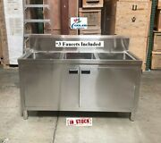 New 60 Stainless Steel Sink Cabinet 3 Compartment Commercial Kitchen Bar Ssc60
