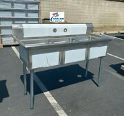 New 59 Stainless Steel Sink 3 Compartment Commercial Kitchen Bar Restaurant Nsf