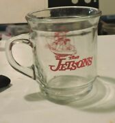 Vintage Promo The Jetsons Family Flying In Spaceship Glass Mug Red Print