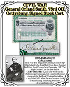 Civil War General O. Smith 73rd Oh Gettysburg 1883 Signed Stock Cert.