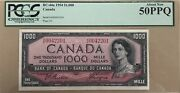 1954 Bank Of Canada 1000 Banknote Pcgs About New 50 Ppq - Catbc-44a - Rare