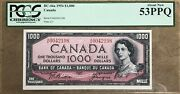 1954 Bank Of Canada 1000 Banknote Pcgs About New 53 Ppq - Catbc-44a - Rare