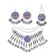 Colorful Rhinestone Crystal Necklaces Earring Hair Clips Bridal Afghan Jewelry