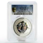 Cook Islands 2 Dollars Sherlock Holmes Sign Of Four Pl69 Pcgs Silver Coin 2007