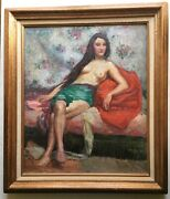 Early 20th Century Portrait Nude Woman On A Sofa Georges Dand039espagnat Oil Painting