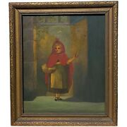 19th C Oil Painting Of Children's Book Character Little Red Riding Hood