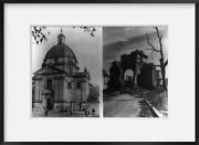 Photo Before After Church Destroyed Ruins Damage Bombardment Warsaw Pola
