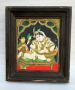Antique Old Rare Hand Painted South Indian Baby Krishna Miniature Fine Painting