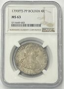 1799 Pts Pp Bolivia Charles Iv Silver 4 Reales Ngc Ms63 Finest Known Must Buy