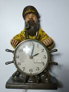 Mastercrafters Salty Dog Ship Captain Electric Lighted Pipe Novelty Clock