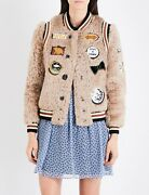 Coach Womenand039s Shearling Bomber Jacket W/ Patches Size 0