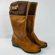 Ecco Womens Suede Leather Low Riding Boot Wedge Brown Buckle Size 39 8.5