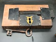 Antique Victorian Church Door Large Big Old Lock And Key With Patent Number