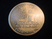 Dluge And Co. Clothing Store 150 E. Ind. St Shamokin Pa. Ad Token With Swastika