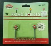 Model Power N Scale 8578 Road Scenes Brass Gulf Lighted Gas Station Signs Hh