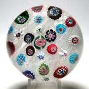 Large Antique Clichy Spaced Concentric Millefiori Paperweight - 25 Canes And Rose