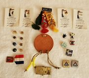 Lot Of Boy Scout Pins, Tri-color Ribbon W/awards Leather Patch, Brass Beltbuckle