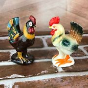 Vintage Salt And Pepper Shakers Large Roosters Chicken Hen Farm Barn Japan