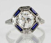 Art Deco Antique 2ct White Round Cz Vintage Engagement Ring Sterling Silver S925