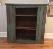 Andnbspantique Primitive Rustic Pine Jelly Cupboard 1800s Chippy Green Paint Farmhouse