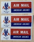 Lot Of 3 Vintage American Airlines Air Mail Stickers