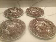 Set Of 4 Spode Archive Collection Woodman Dinner Plates -10 3/8 Georgian Brown