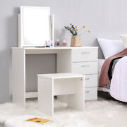 Modern White Dressing Table Jewelry Makeup Desk W/ 1 Mirror And 3 Drawers Bedroom