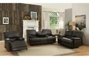 Contemporary Living Room Furniture Dark Brown Faux Leather Dual Reclining Sofa