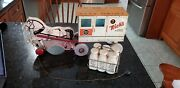 Rich's Little Man Dairy Wagon Pull Toy Wood Tin
