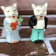 Vintage Anthropomorphic Salt And Pepper Shakers Pig Couple Suit Japan