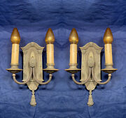 Heavy Brass Two Arm Antique Candle Sconces Rare Rewired Pair 110c