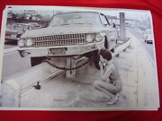 1961 Ford Galaxie On Guard Rail Women Driver Big 11 X 17 Photo Picture