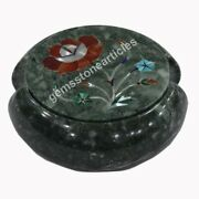 Green Marble Inlay Precious Floral Teapot Coaster Set With Holder Gift For Him