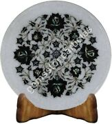12 Marble White Collectible Plate Inlay Black Z Floral Pietradura Veterans Gift