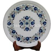 14 Marble Dish Collectible Plate Lapis Inlay Marquetry Floral Thanksgiving Gifs