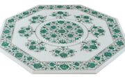 White Top Marble Dining Table Malachite Inlay Floral Wedding Decor Gift Art