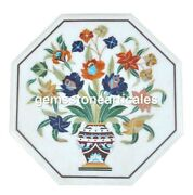 Top Coffee Table Lapis Lazuli Marquetry Inlay White Marble Outside Home Decor
