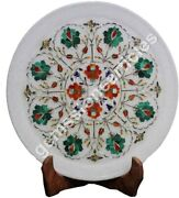 12 White Collectible Plate Carnelian Inlay Semi Precious Floral Veterans Gifts