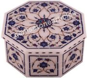3x3x2 Marble White Jewelry Organizer Box Lapis Fine Floral Inlay Art Gift Her