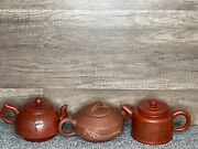 Vintage Chinese Yixing Teapot Lot Of 3 Signed