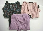 3 Cuddl Duds Womens Open Front Long Sleeve Draped Collar Printed Cardigans S/m