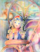 Raggedy Ann And Bear Original Water Color Painting Artist Signed 28 X 34 Framed