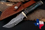 Custom Hand Forged Damascus Steel Hunting Knife W/risen And Brass Guard Handle1667